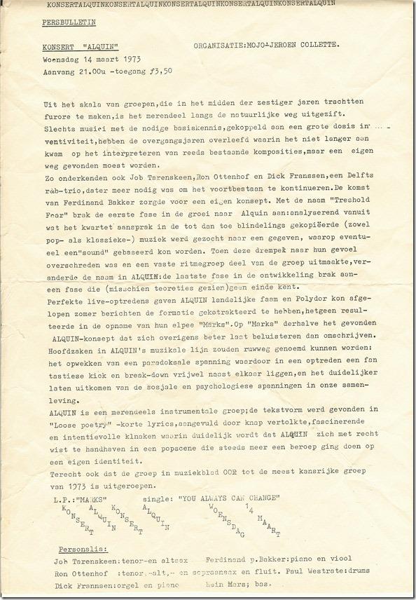 """Originele gestencilde concertflyer """"Alquin"""" in Doornroosje op 14 maart 1973 (collectie Willem Venema)"""