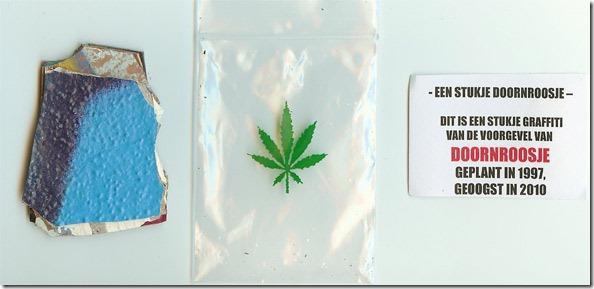Zeer orginele bonus voor de early buyers: een stukje van de voorgevel van Doornroosje in een plasticzakje met opgedrukt wietblad