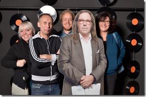 4-12-2014 40 jaar WV gastenboekfotos (7) v.l.n.r. Kimtessa Hill, Bert Dondorff (o.a. Bibelot), Pim van Dinther en Margriet van Kraats (TivoliVredenburg)